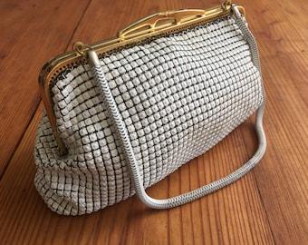 Vintage Glomesh  Style Bag-White Metal Mesh Bag-Oroton-Evening wear-Clutch-Purse-1960's.Vintage Purse.