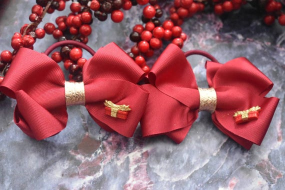 Festive pair of cardinal red and gold bow hair ties  / scrunchies / pigtail pony tail ties / wedding bows / flowergirl bows / christmas bows