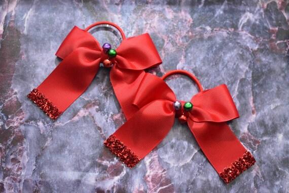 Pair of Red Jingle Bells Grosgrain Christmas hair ties - Kids / Toddlers / Girl pony tail holders / scrunchies / Flowergirls bow / Hairbands