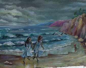 Picture Seaside on An Overcast Day Art Original Oil Landscape Painting