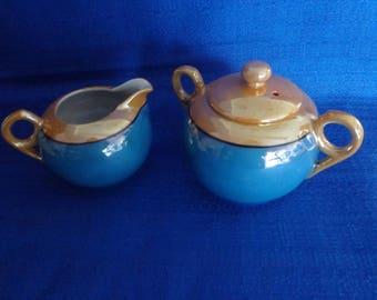Sale Japanese Lusterware Sugar Bowl and Creamer,Blue and Gold Sugar Bowl and Creamer Made in Japan