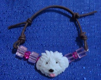 White Dog Bracelet,Pink Bead Bracelet,Puppy Bracelet,Dog Jewelry,Adjustable Bracelet