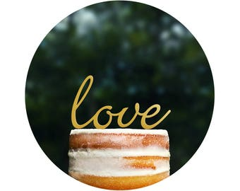 Script LOVE Wedding Cake Topper, Romantic Wedding Cake Decoration in your Choice of Color, Modern and Elegant Wedding Cake Toppers - (T077)