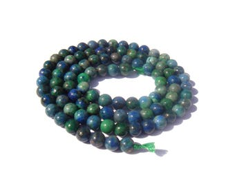 Lapis Chrysocolla multicolored embellished: 10 matching 4 mm beads