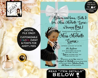 Baby and Co First Birthday, Breakfast at Tiffany's baby first birthday invitations, Audrey Hepburn printable invites, princess vintage, 5x7