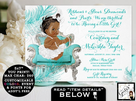 African American BABY SHOWER invitation, ribbons bows, diamonds pearls, silver white and turquoise blue, ethnic baby shower invitations.