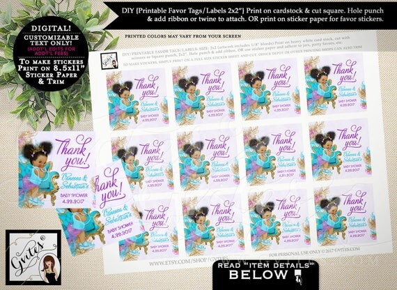 """Thank you baby shower tags, PERSONALIZED stickers, toppers, teal purple gold, african american girl princess.PRINTABLE  2x2"""" 12/Per Sheet."""
