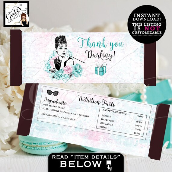 Candy Bar Wrappers, Bridal Shower Candy Bar Template, Breakfast at shower, thank you darling, favors, gifts. PRINTABLE  2-Per/Sheet INSTANT