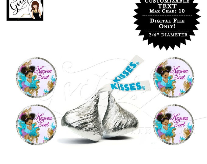 Hershey kiss sticker labels, purple gold silver princess baby shower, african american CUSTOMIZABLE {Designed For Avery® 41568} #TIAAPC001