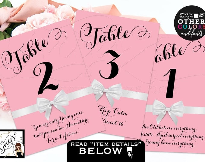 Sweet 16 table sign, table numbers, decorations, table numbers with quotes, birthday, sweet sixteen, quinceanera DIGITAL FILE! 4x6 or 5x7.