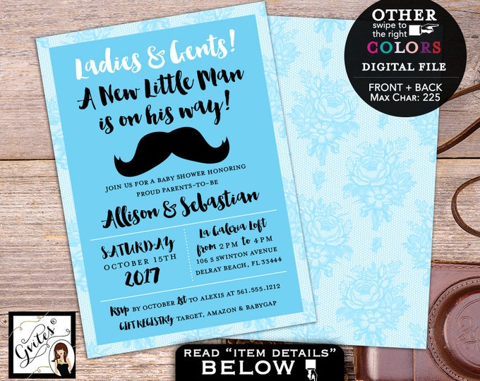 Little man baby shower invitation, baby blue mustache boy shower party invites, printable, diy, double sided, 5x7, Gvites