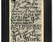 Frank Sinatra, New York, Transformative lyric Calligraphy on Antique Dictionary Page, art print, Wall Decor, Wall Art Mixed Media Collage