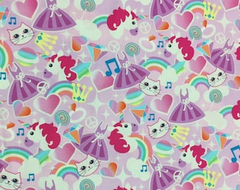 Magical Unicorn and Cat with Rainbows, Princess Crown - 100% Cotton Fabric [[by the half yard]]