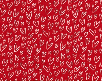 White Doodle Hearts on Red - Cotton Quilting Fabric [[by the half yard]]