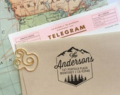 Custom Address Stamp with Mountains, Wedding, Housewarming, Christmas gift, Self Inking Return Address Stamp, Wedding Stamp Save The Date