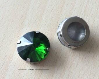 Rhinestone glass round green moss 1243