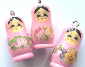 Pink matryoshka charm made of wood for the customization