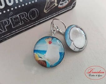 pina colada coconut and Silver earrings