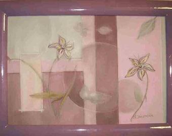 Purple pastel floral painting Composition floral painting
