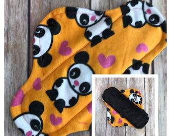 "8"" Velour Pandas Cloth Menstrual Pad - Mama Cloth"