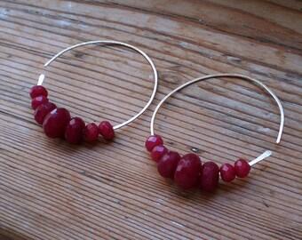 Ruby open hoop earrings // Ruby earrings // brass earrings