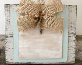 Ready to SHIP! Cream Distressed Picture Frame with Burlap bow