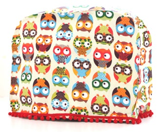 Kitchenaid mixer cover or Kenwood Major, K-Mix. Kitchen decor, Housewarming gift, Colorful Owls designer fabric. Red Pompoms. Gifts under 50
