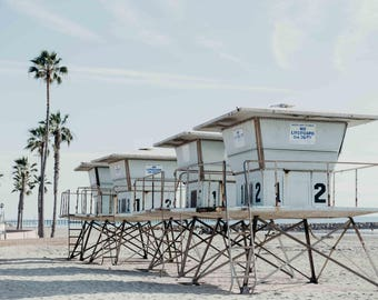 Oceanside California Lifeguard Towers, Beach, Palm Trees, Pastel Summer Photography