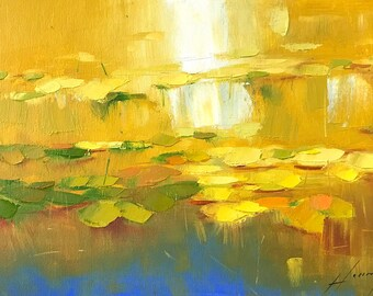 Waterlilies Original oil Painting on Canvas Handmade artwork One of a kind