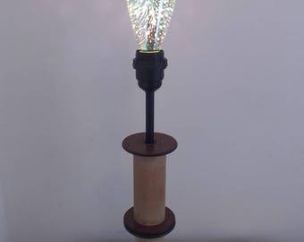 Lamp creation spinning vintage wood spools