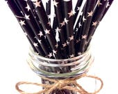 25 Solid Black Star Paper Straws // baby bridal shower decorations / candy dessert buffet table // wedding / First birthday / new year party