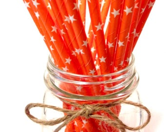25 Solid Orange Star Paper Straws // baby bridal shower decorations / candy dessert buffet table / wedding / First birthday / new year party