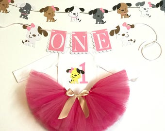 Puppy birthday baby outfit, baby tutu skirt, tutu outfit, Birthday puppy costume, baby's birthday bodysuit, puppy outfit, puppy bodysuit