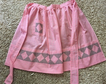 Vintage Pink Gingham Check With Black Embroidery Half Apron