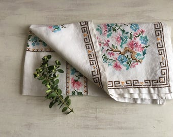 Vintage Small Linen Tablecloth with Colorful Cross Stitch Embroidery