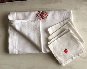 Vintage White Tablecloth Accented With Red Needlework, 4 Matching Napkins