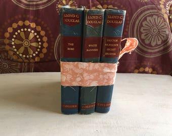 Bundle of 3 Vintage Blue Color Books by Lloyd Douglas, 1936, Book Decor
