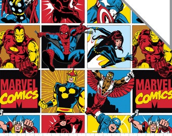 Marvel Fabric Comic Blocks FLANNEL Fabric From Camelot