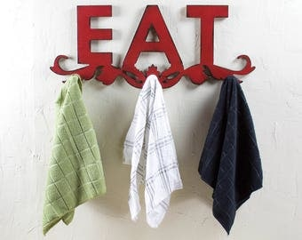 Rustic Eat Sign Rustic Towel Hook Wooden Eat Sign Towel Hook Wood Eat Sign Kitchen Towel Holder Rustic Kitchen Decor Kitchen Towel Holder