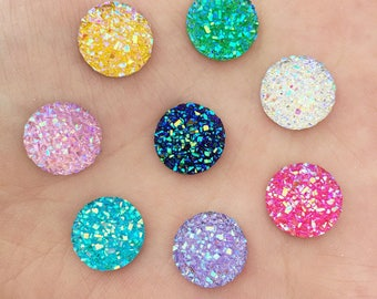 Mix color resin 12mm X 10 Cabochons rough effect