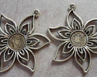 X 1 47mm antique silver flower pendant