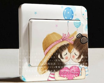 X 1 girl and boy in love for waterproof switch Sticker