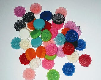 X 10 flower Cabochons resin mix color
