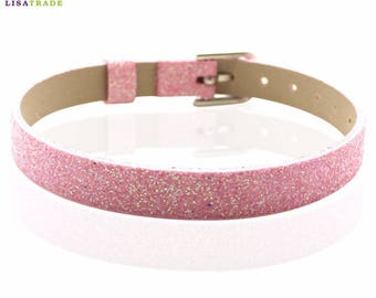 Bracelet faux leather glitter pink 22 cm