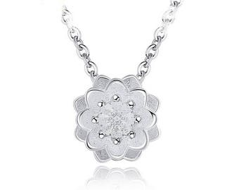 925 silver plated Lotus Flower necklace