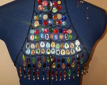 boho hippie festival body jewellery harness tribal bellydance top
