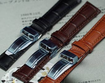Genuine Leather Watch Deployment Strap,Replacement Strap,Calf Leather Padded Replacement Watch Band,Sporty Style Leather,