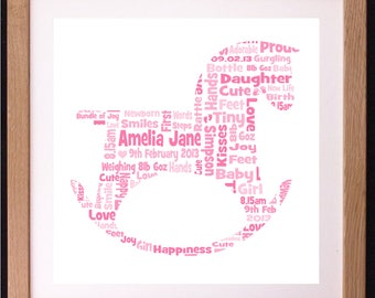 Personalised New Baby Rocking Horse Word Art Gift, Baby Girl Boy