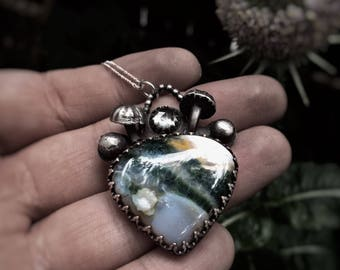 Silver Faerie Garden Necklace with Jasper and Green Amethyst