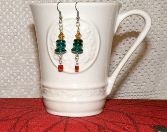 Christmas Tree Candle With Package Dangle Earrings